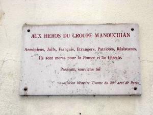Plaque au 49 rue du groupe Manouchian