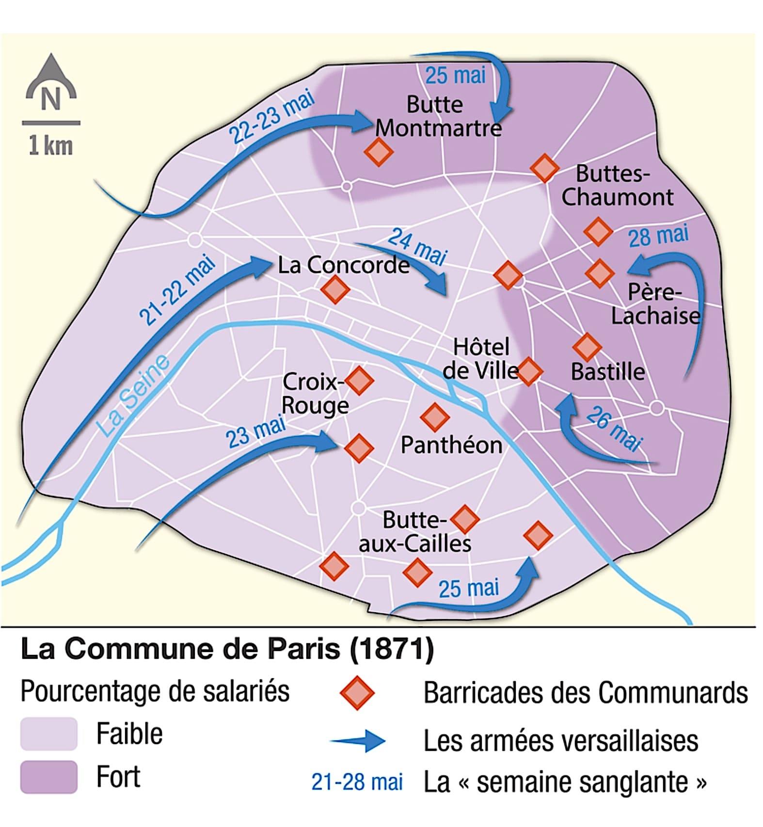Les versaillais envahissent Paris lors de la semaine sanglante