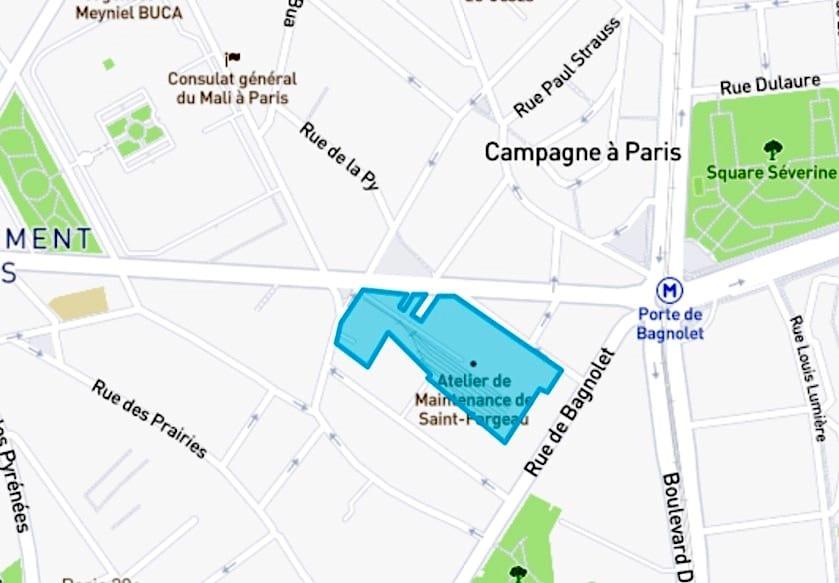 Périmètre du sIte RATP voué à la démolition - Ahav Paris 20ème Arrondissement